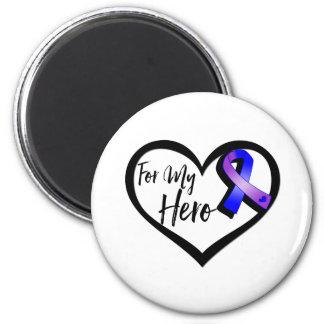 Cinta azul y púrpura de la conciencia para mi imán redondo 5 cm