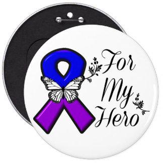 Cinta azul y púrpura de la conciencia para mi pin redondo de 6 pulgadas