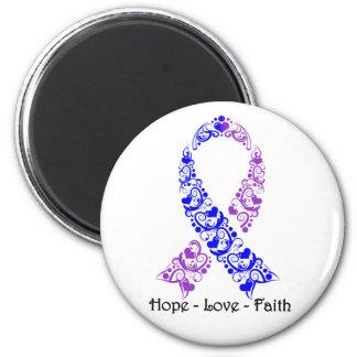 Cinta azul y púrpura de la esperanza de la imán redondo 5 cm