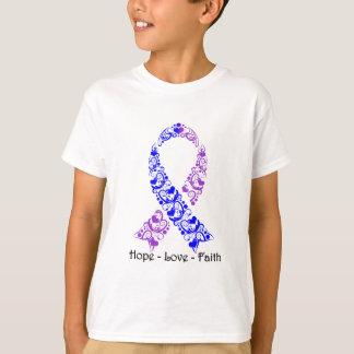 Cinta azul y púrpura de la esperanza de la polera