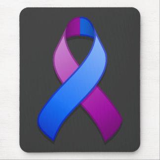 Cinta azul y púrpura Mousepad de la conciencia