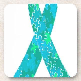 Cinta azulverde del modelo del rompecabezas del posavasos
