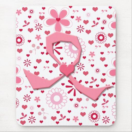 Cinta banal del cáncer de pecho con el corazón alfombrilla de ratones