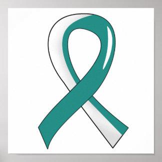 Cinta blanca 3 del trullo del cáncer de cuello del poster