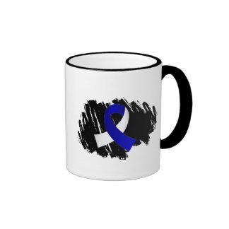 Cinta blanca azul del ALS con garabato Taza