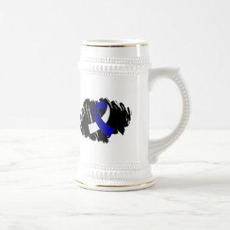 Cinta blanca azul del ALS con garabato Tazas