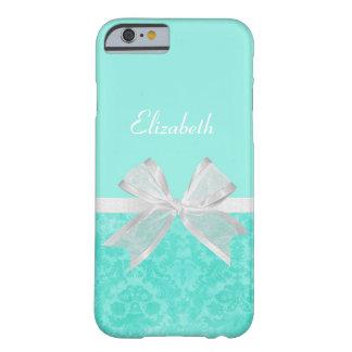 Cinta blanca de la aguamarina del damasco femenino funda de iPhone 6 barely there