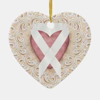 Cinta blanca del corazón - SRF del cáncer de Adornos De Navidad