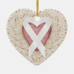 Cinta blanca del corazón - SRF del cáncer de pulmó Adornos De Navidad