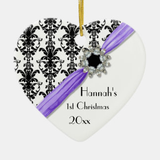 Cinta blanca del damasco del negro de la hebilla ornamento de navidad