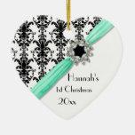 Cinta blanca del damasco del negro de la hebilla ornamentos de navidad