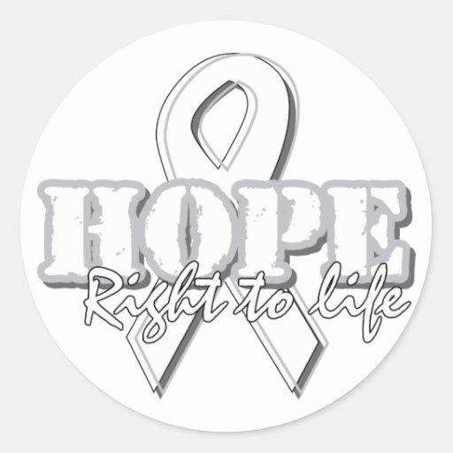 Cinta blanca - esperanza - derecha a la vida pegatina redonda