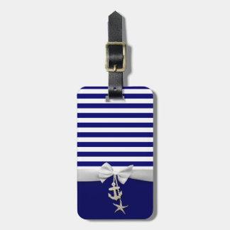 Cinta blanca náutica y encantos de la raya azul etiquetas para maletas