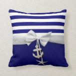 Cinta blanca náutica y encantos de la raya azul gr almohadas