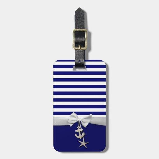 Cinta blanca náutica y encantos de la raya azul gr etiquetas de maletas