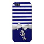 Cinta blanca náutica y encantos de la raya azul gr iPhone 5 fundas