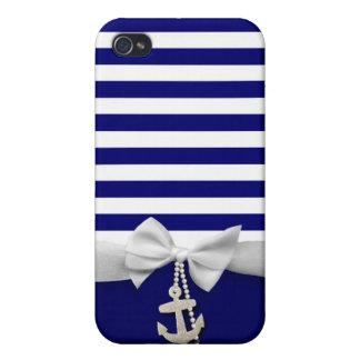 Cinta blanca náutica y encantos de la raya azul gr iPhone 4 cárcasa