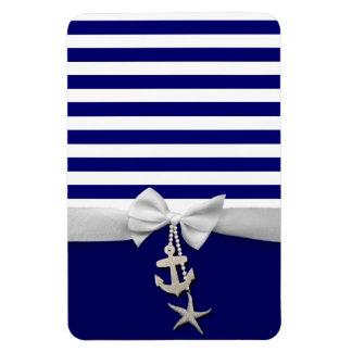 Cinta blanca náutica y encantos de la raya azul gr imán de vinilo