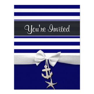 Cinta blanca náutica y encantos de la raya azul gr invitacion personalizada