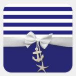 Cinta blanca náutica y encantos de la raya azul gr pegatina