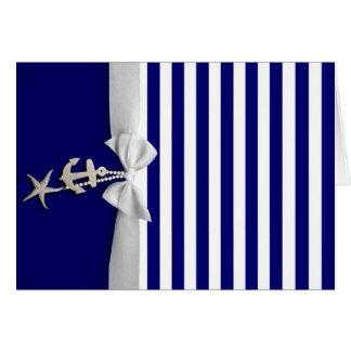 Cinta blanca náutica y encantos de la raya azul gr felicitacion