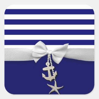 Cinta blanca náutica y encantos de la raya azul colcomanias cuadradass