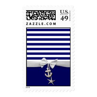 Cinta blanca náutica y encantos de la raya azul sello