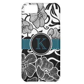 Cinta blanca negra floral moderna del trullo con m funda para iPhone 5C