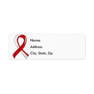 Cinta blanca roja 3 del cáncer oral etiqueta de remitente
