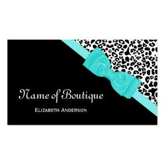 Cinta blanco y negro de la aguamarina del leopardo plantilla de tarjeta personal