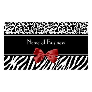 Cinta blanco y negro de moda del rojo de la cebra tarjetas de visita
