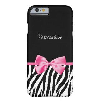 Cinta blanco y negro de moda del rosa de la cebra funda de iPhone 6 barely there