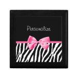 Cinta blanco y negro de moda del rosa del estampad caja de recuerdo