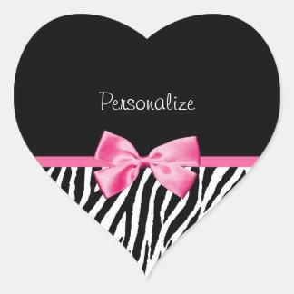Cinta blanco y negro de moda del rosa del pegatina en forma de corazón