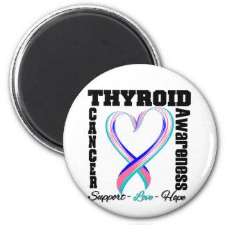 Cinta cepillada conciencia del corazón del cáncer  imán redondo 5 cm