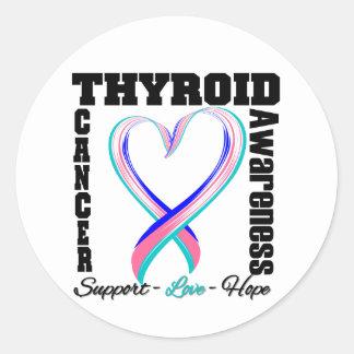 Cinta cepillada conciencia del corazón del cáncer pegatina redonda