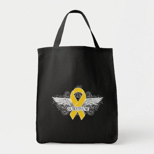 Cinta coa alas cáncer del SUPERVIVIENTE de la niñe Bolsas De Mano