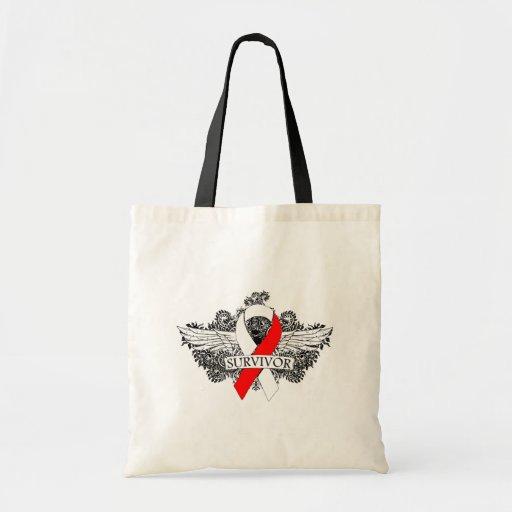 Cinta coa alas cáncer oral del SUPERVIVIENTE Bolsas De Mano
