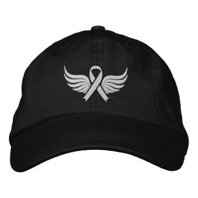 Cinta coa alas del cáncer de pulmón gorra de beisbol