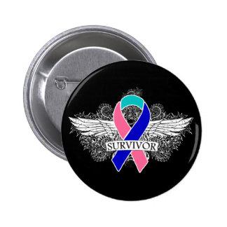 Cinta coa alas del SUPERVIVIENTE del cáncer de tir Pin