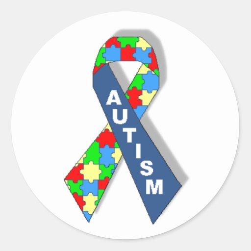 Cinta colorida de la conciencia del autismo pegatinas redondas