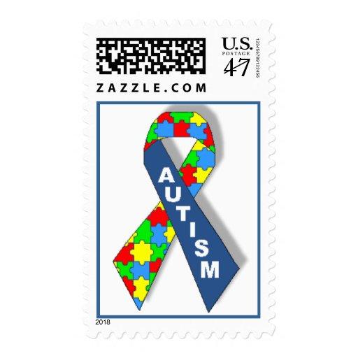 Cinta colorida de la conciencia del autismo sellos postales