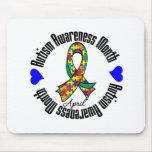 Cinta colorida - mes de la conciencia del autismo alfombrilla de ratones