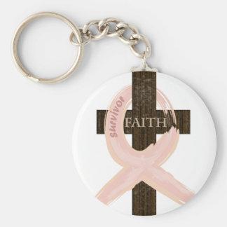 Cinta-Cruz del rosa del superviviente del cáncer d Llavero Redondo Tipo Pin