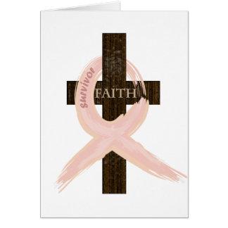 Cinta-Cruz del rosa del superviviente del cáncer d Tarjeta De Felicitación
