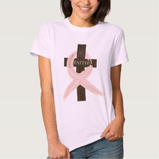 Cinta-Cruz del rosa del superviviente del cáncer Playera