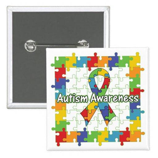 Cinta cuadrada de la conciencia del autismo del ro pin cuadrada 5 cm