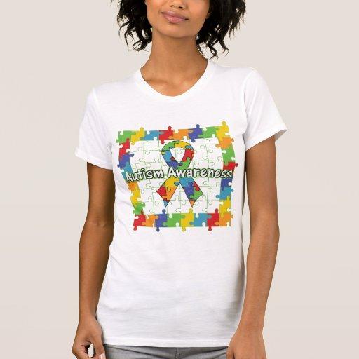 Cinta cuadrada de la conciencia del autismo del ro camisetas
