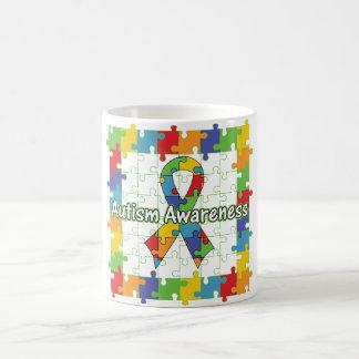 Cinta cuadrada de la conciencia del autismo del taza de café