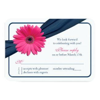 """Cinta de azules marinos rosada de la margarita de invitación 3.5"""" x 5"""""""